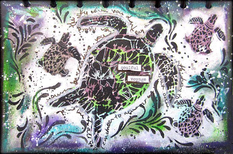 Art Journal Page With Marbled Background Keren Tamir
